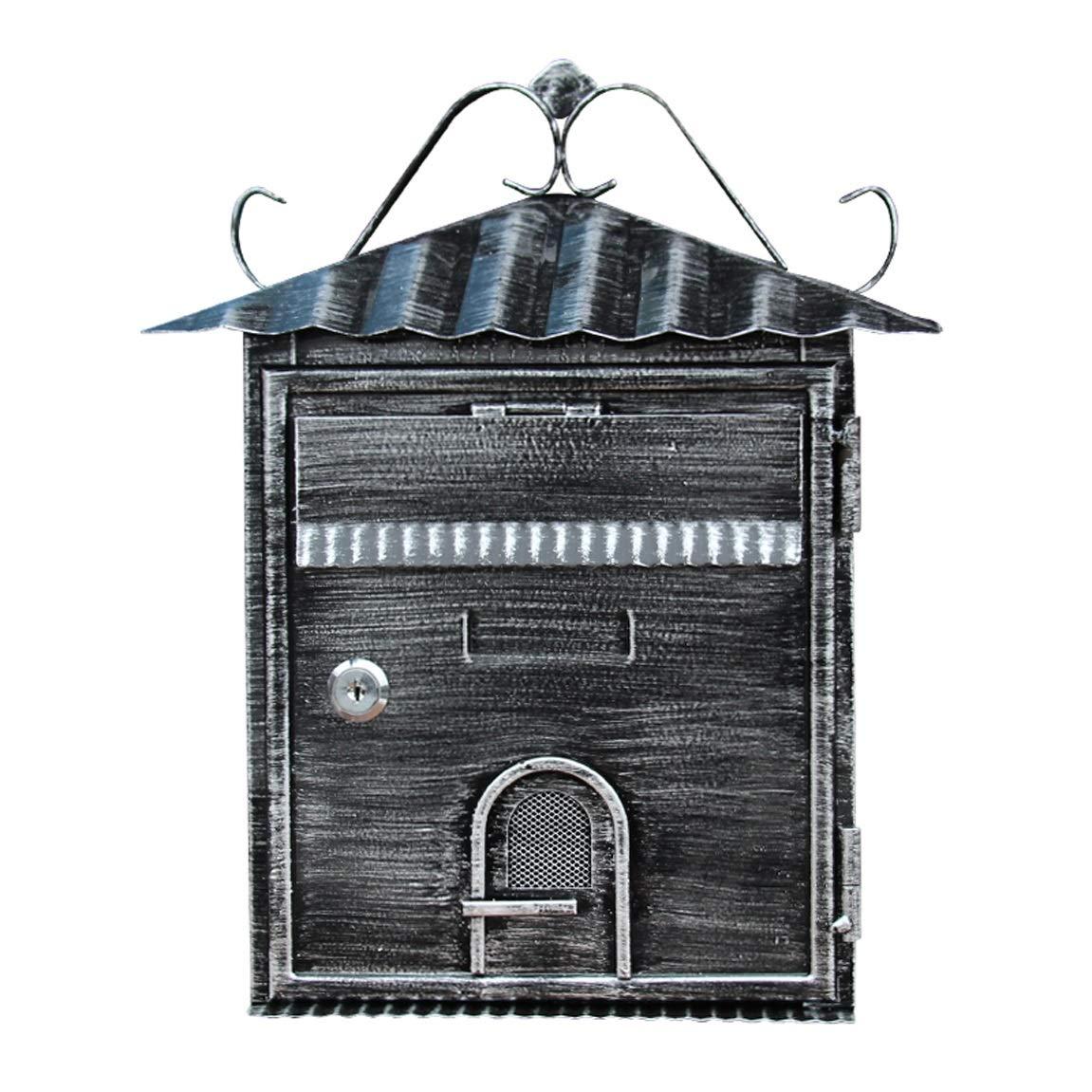 HZB ヨーロッパスタイルのヴィラ郵便受け屋外レシートボックス、レトロボックス、レターボックス、壁掛けの提案箱   B07F1NC1LP