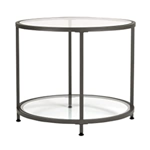 Studio Designs Home 71004.0 Camber Round Side Table In Pewter With Clear Glass