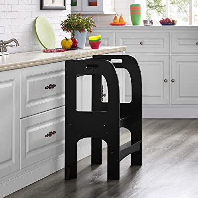 Naomi Home Kids On The Rise Kids Kitchen Step Stool Espresso: Kitchen & Dining