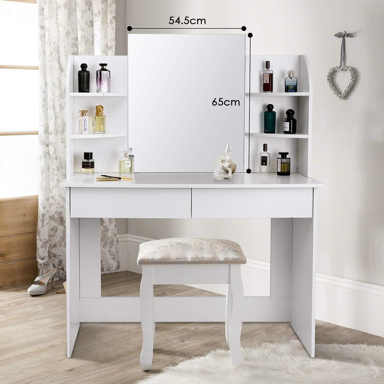 ohne Hocker 108x40x140CM,Wei/ß amzdeal Schminktisch mit Gro/ßem Spiegel,Frisiertisch mit 2 Schubladen und 6 Regale Kosmetiktisch aus Holz