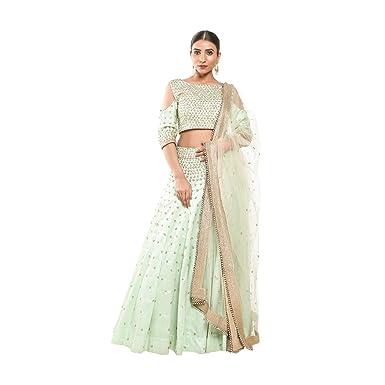 9ab2c6f3e Pushp Paridhan Wedding Wear Traditional Ethnic Wear Handwork Pista Green  Lehenga Choli Set For Women: Amazon.in: Clothing & Accessories