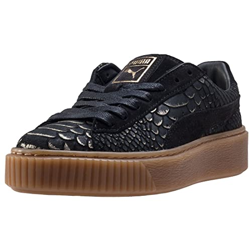 5469e238fde316 Puma Suede Platform Black Gold Exotics - 3.5 UK