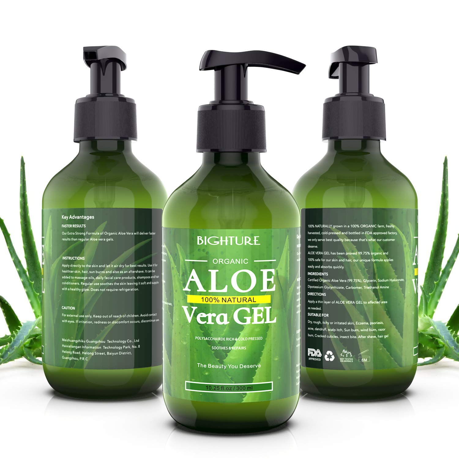 Aloe Vera Gel, Bighture Pure Aloe Vera Gel With Organic Aloe for Healthy Skin, Hair & After Sun Relief(10.25fl.oz/300ml)