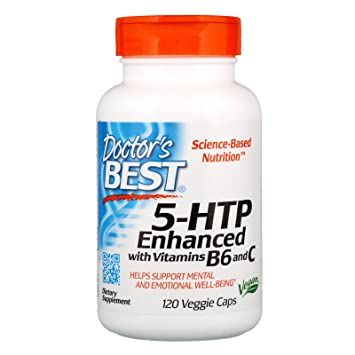 Doctor's Best 5-HTP Enhanced with Vitamins B6 and C, Non-GMO, Vegan, Gluten  Free, Soy Free, 120