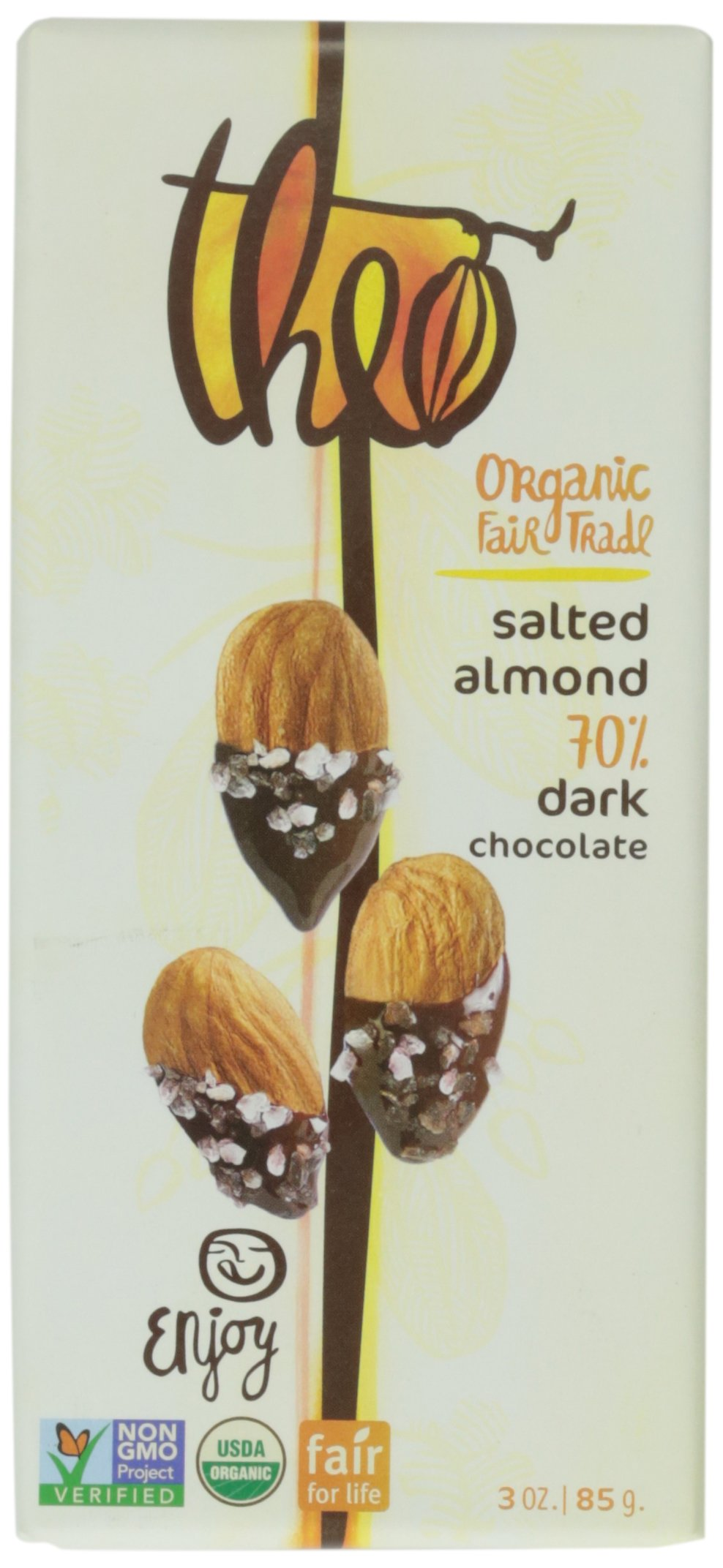 Theo Salted Almond 70% Dark Chocolate, 3 ounce