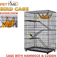 4 Level Bird Cage Ferret Pet Cat Hamster Rat Budgie Stainless Castor Wheel (Cage with Hammock & Cusion)