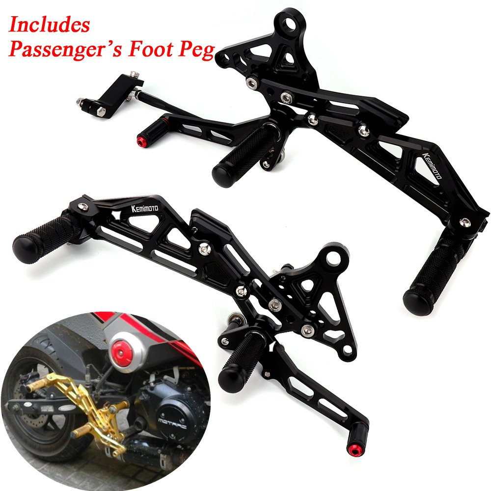 Grom Rearsets with Passenger's Foot pegs Adjustable Rear Set Foot Rest for Honda Grom MSX 125 2013 2014 2015