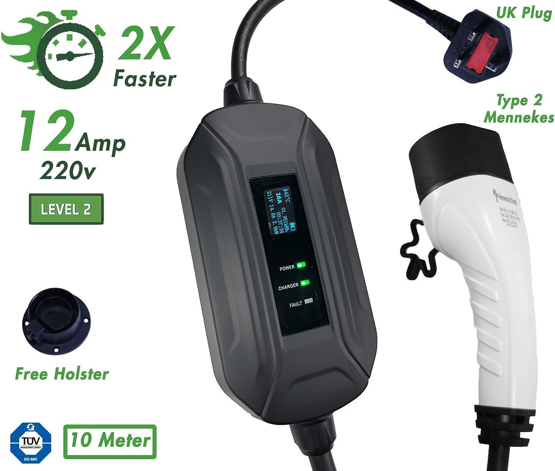 EV 220V, 16Amp Level-2 and European Schuko PRIMECOM Type 2 IEC 62196-2 UK CEE Mennekes Portable EVSE Smart Electric Vehicle//Car Charger 10/&15 Meter