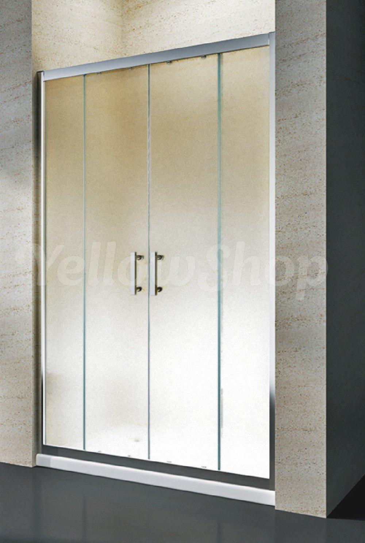 Yellowshop–Porte de douche en niche coulissante et réversible, en verre trempé (6mm) transparent ou dépoli, 130/140/150/160cm, multicolore