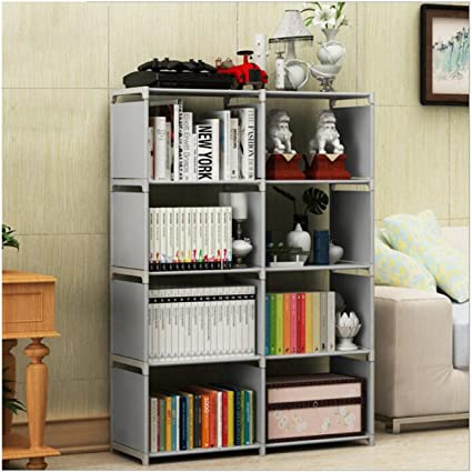 Riipoo Multi Function Book Shelf Double Row 4 Tier Bookshelf Bookcase With 8
