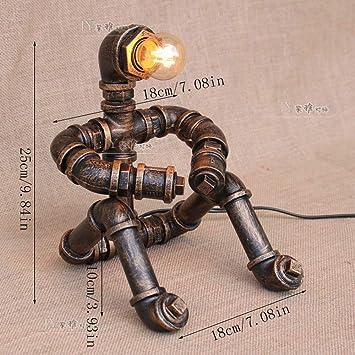 PIN Lámpara de mesa nostálgica Steampunk Robot Light Thinkers Tubo ...