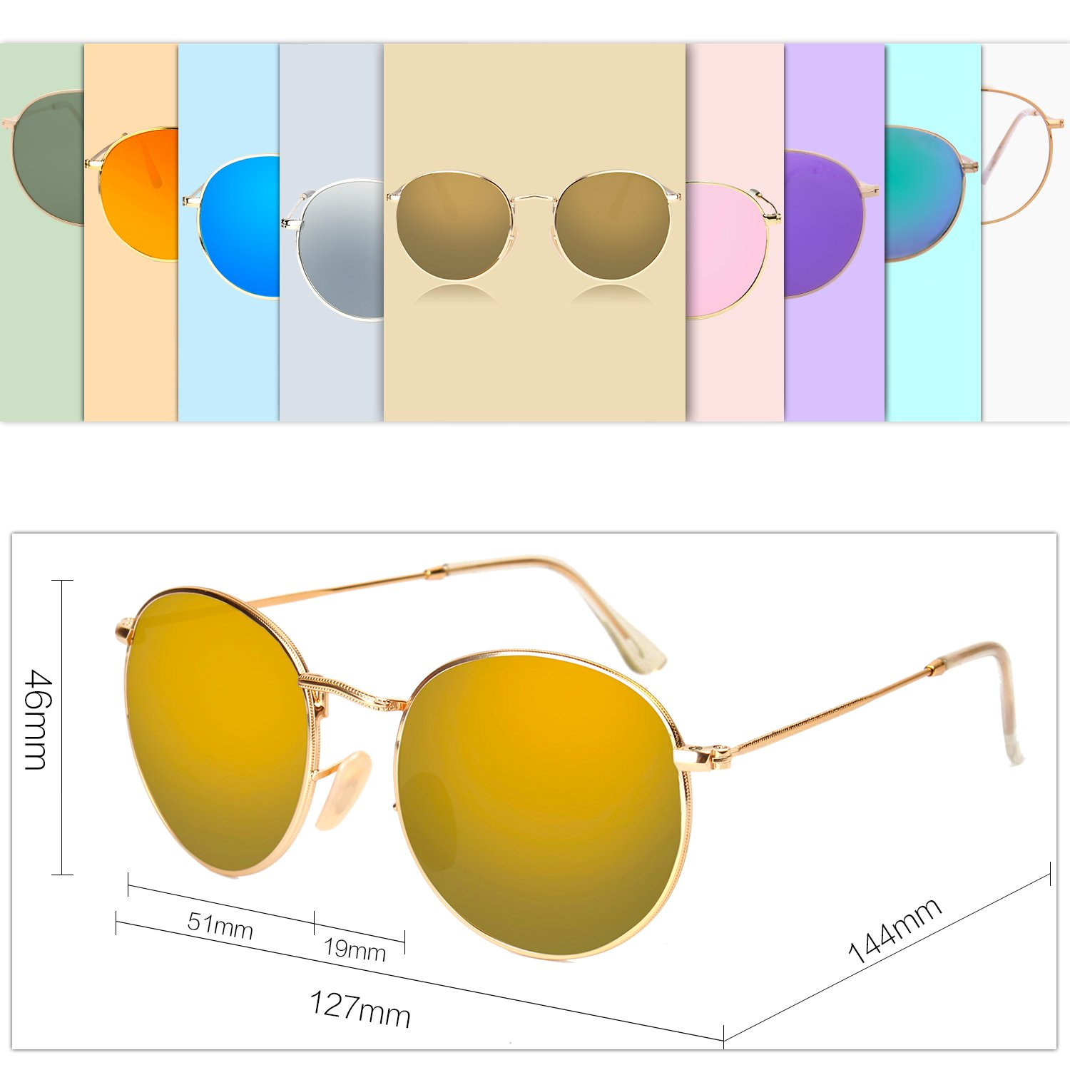 d92bc10f08 SOJOS Small Round Polarized Sunglasses Mirrored Lens Unisex Glasses SJ1014  3447 with Gold Frame Gold Mirrored Lens - SJ1014C2   Sunglasses   Clothing