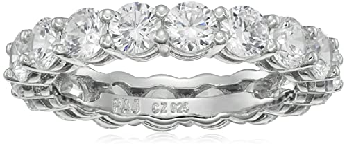 Platinum Plated Sterling Silver Round Cubic Zirconia All-Around Infinity Band Ring