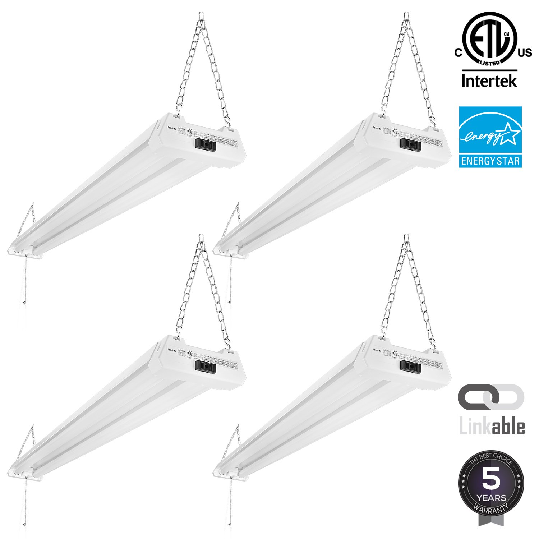 4-PACK 4ft 40W Linkable LED Utility Shop Light, 4100 Lumens, ENERGY STAR & ETL Listed, Double Integrated LED Ceiling Fixture, 5000K Daylight, Pull Cord Switch, Garage/Basement/Workshop