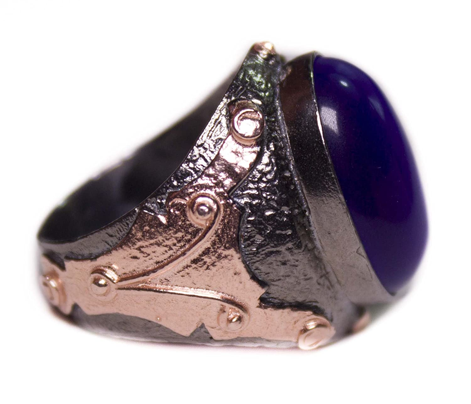 Falcon Jewelry 925 Sterling Silver Men Ring Blue Cats Eye Stone Free Express Shipping Men Jewelry