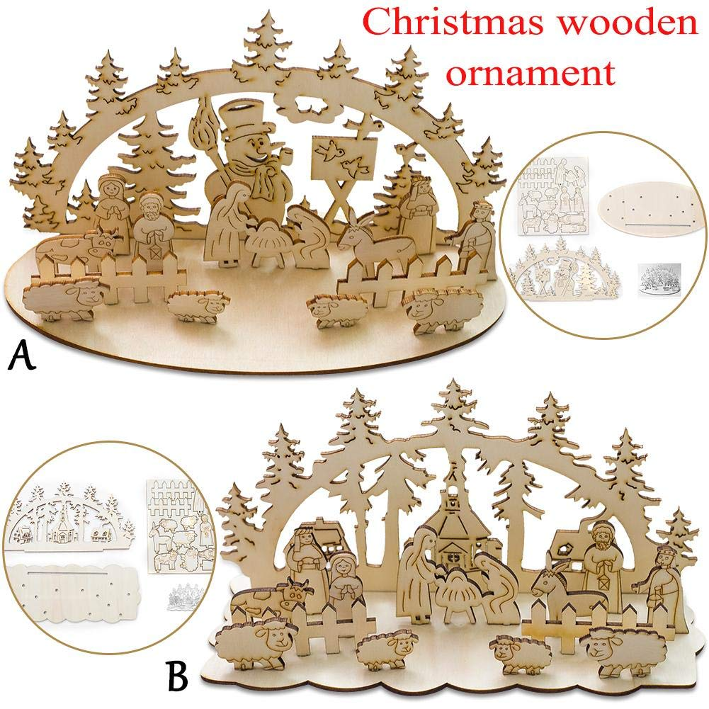 Christmas Wooden House 3D Ornaments Creative Mosaic Decorative Ornaments Christmas Desktop Ornaments Handmade DIY Xmas Stereo Ornaments Snowman Church DIY Home Decoration Forestwood