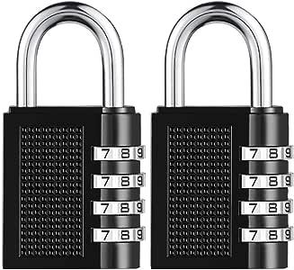 [2019 Upgrade] BYETOO Combination Lock for Locker Outdoor,Towoke Resettable Weatherproof Combination Padlock,4 Digit Smooth Dial,Zinc Alloy Lock for School,Gym Locker,Fence,Case,Hasp Cabinet,2Pack
