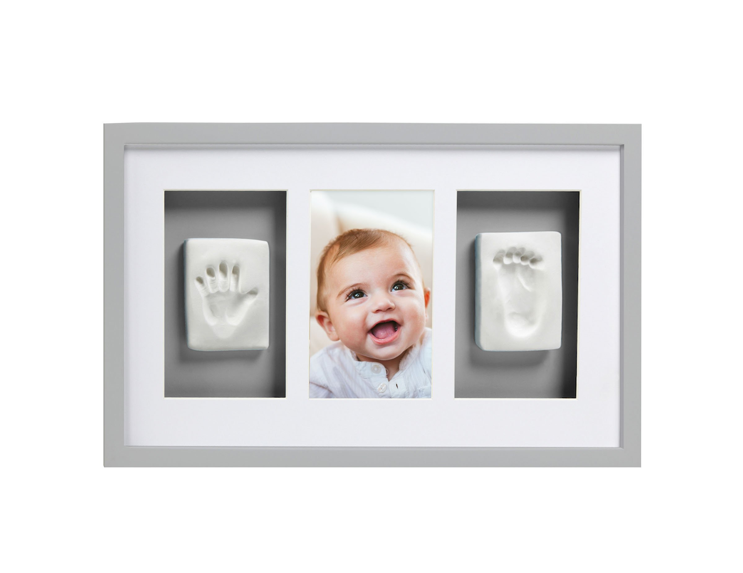 Pearhead Babyprints Newborn Baby Handprint and Footprint Deluxe Wall Photo Frame & Impression Kit, Gray