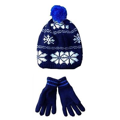 Carters Big Boys' Hat Glove Set, Navy Snow