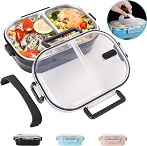 Lunch Bento Box Stainless Steel Square Food Storage Container Leakproof with Sealed Compartment for Woman Man Work (Black 2 Compartment)