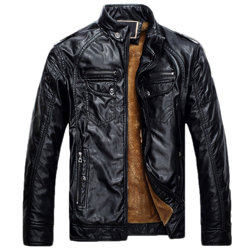 Howriis Men's Vintage Stand Collar Fleece Lined Faux Leather Jackets (Medium, P05 Black)
