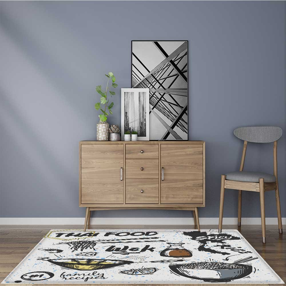 Non-Slip Area Rug set of asian dishes thai food noodles and rice No Chemical Odor 24''x40''