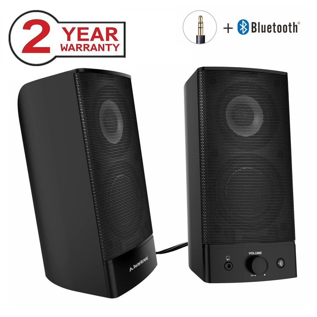 Avantree Desktop Bluetooth PC Computer Speakers, Wireless & Wired 2-in-1, Superb Stereo Audio, AC Powered 3.5mm/RCA Multimedia External Speakers for Laptop, Mac, TV - SP750 [2 Year Warranty]