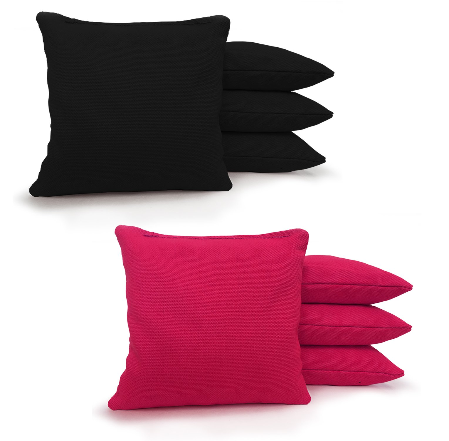Johnson Enterprises, LLC 8 Standard Corn Filled Regulation Duck Cloth Cornhole Bags! 17 Colors (You Pick)!! (Black/Pink)