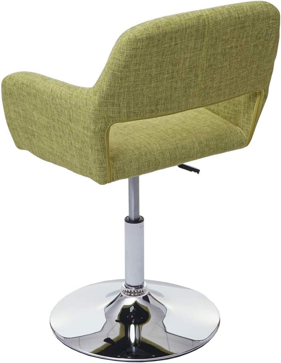 Chaise de Salle à Manger HWC-A50 III, Style rétro années 50, Tissu ~ Vintage Marron, Pied Aspect chromé Vert Clair, Pied Chromé.