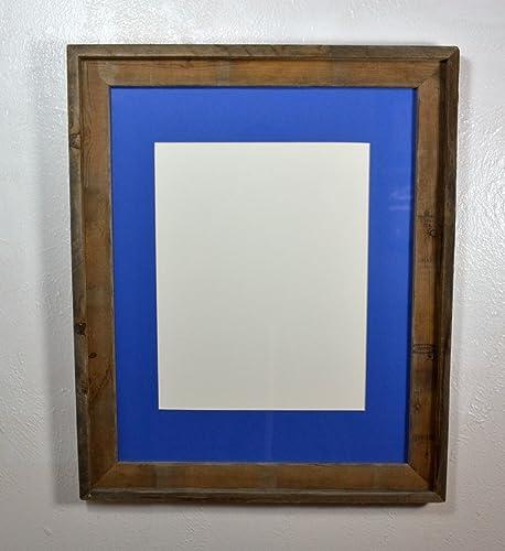 Amazon.com: Farmhouse Style 11x14 Blue Mat in Reclaimed Wood Wall ...