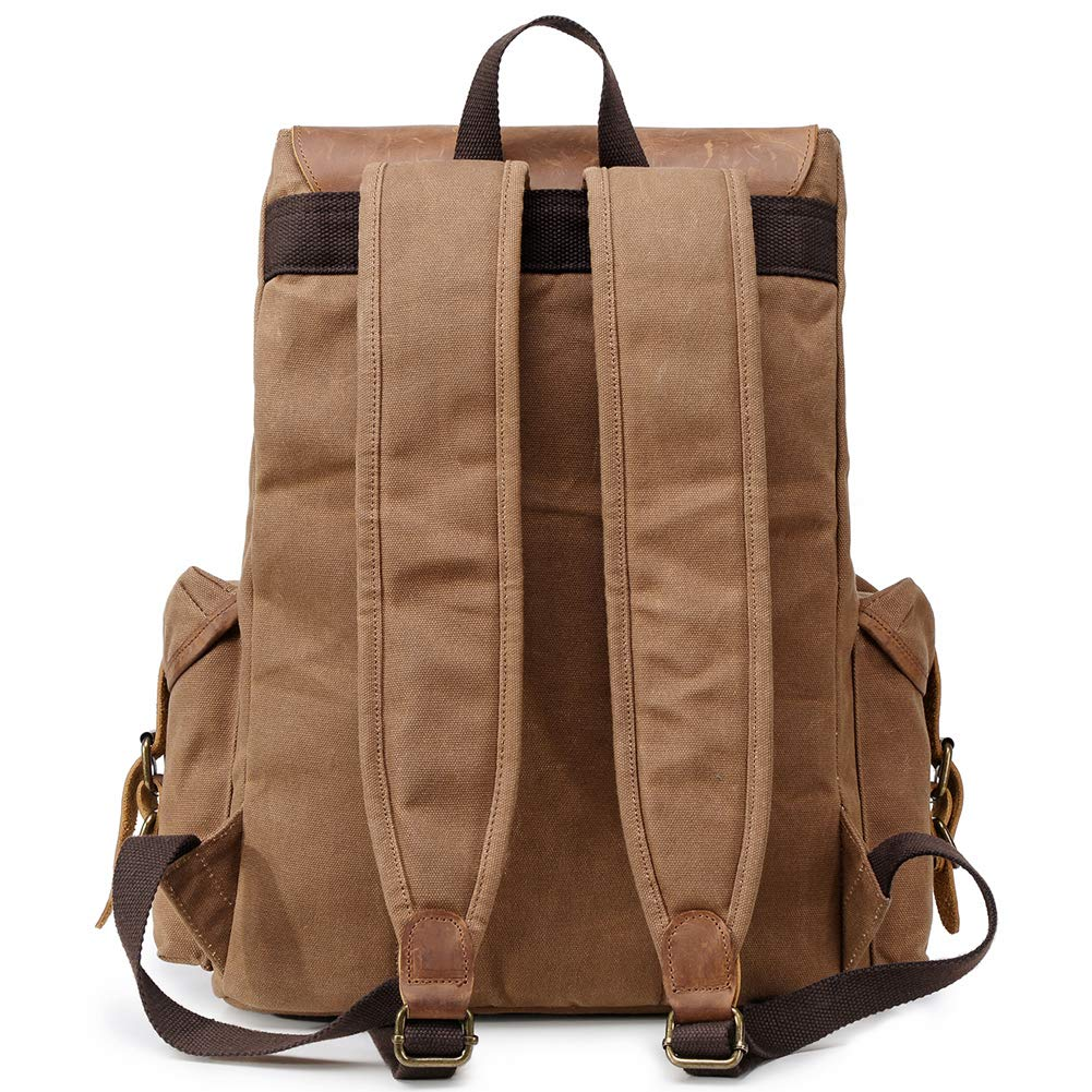 4e03fd2f3b Amazon.com  Kemy s Mens Waxed Canvas Backpack Leather Rucksack for Men Wax  Leather Backpacks Travel Vintage Bookbag with Laptop Compartment Rustic  Large ...