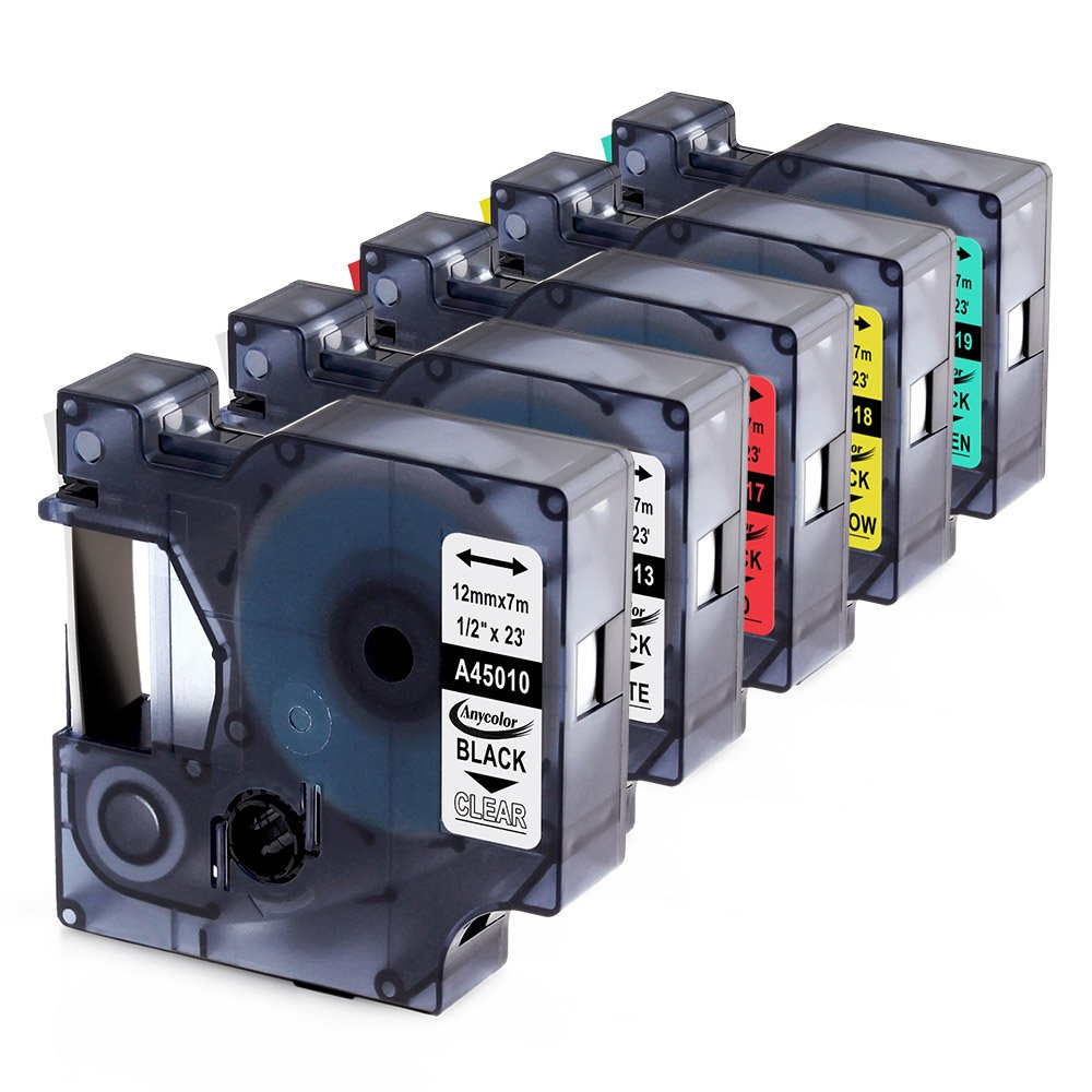 Anycolor 5 Pack D1 Label Tapes Combo Set Compatible DYMO 45010 45013 45017 45018 45019 for DYMO LabelManager 160 280 420P PnP 220P 360D 450 210D (1/2'' x 23' 12mm x 7m) by Anycolor (Image #1)