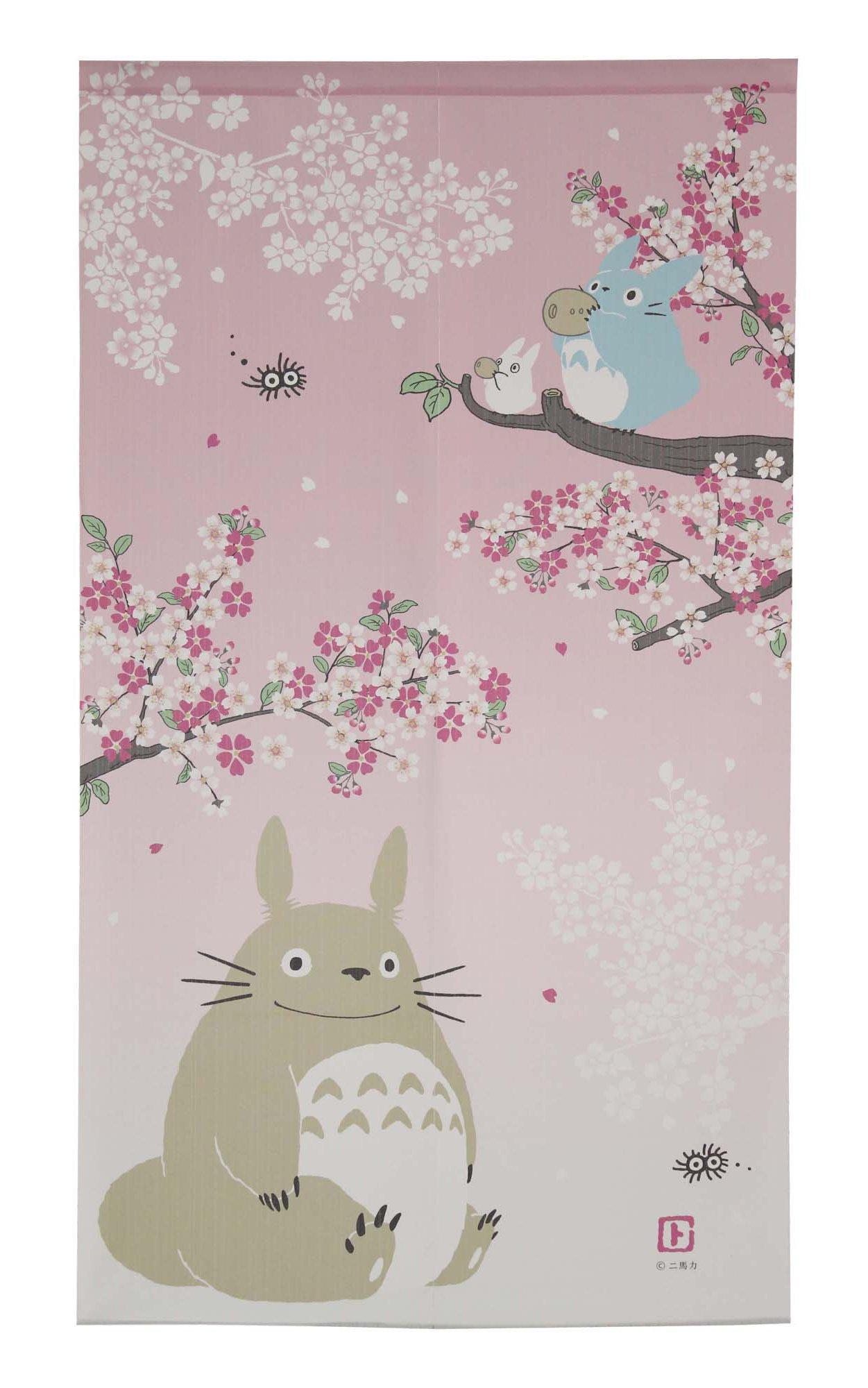 Studio Ghibuli Totoro Noren Curtain Tapestry Spring Dance of the Sakura