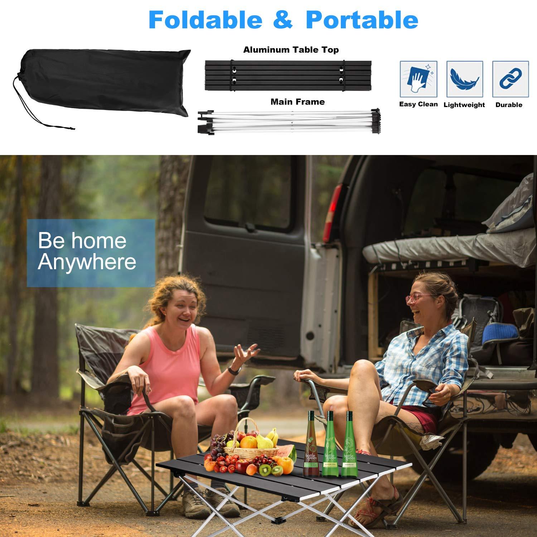Amazon.com: Mesa de acampada portátil de Ledeak, pequeña ...