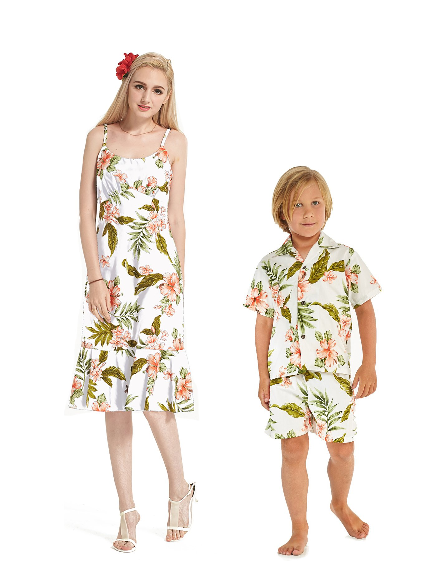 Made in Hawaii Matching Mother Son Dress Shirt in White with Pink Floral L-6