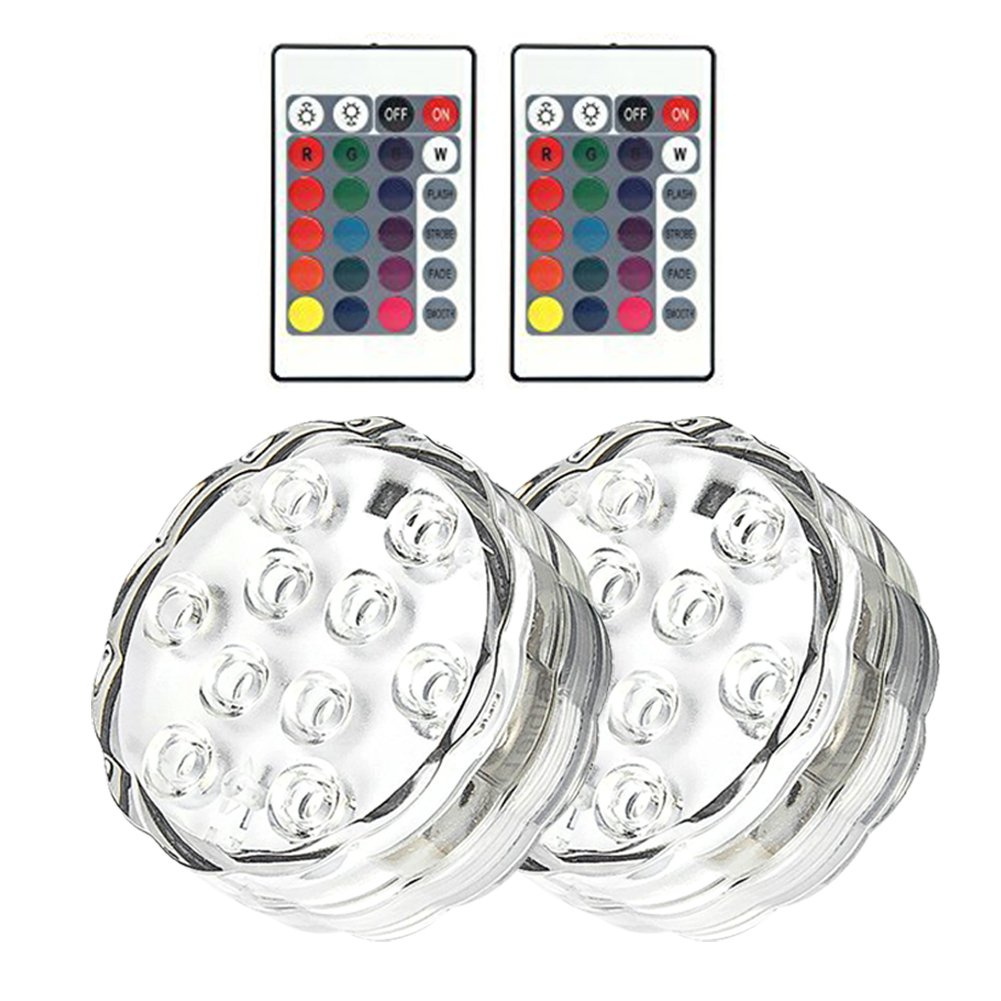REDGO Waterproof Underwater Lights, Battery Sub LED Lights, RGB Multi-color Changing Remote Control Battery Powered Garden Party Weeding Christmas Halloween Festival Decoration, 2 Packs