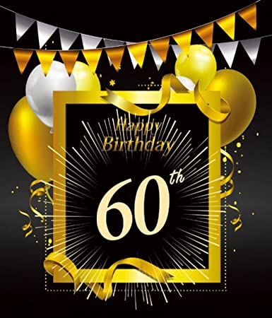 Amazon 60 Years Happy Birthday Photo Backdrop 60th Anniversary Celebration Party Background With Confetti Balloon Flag Photography Studio Props 5x7 Ft
