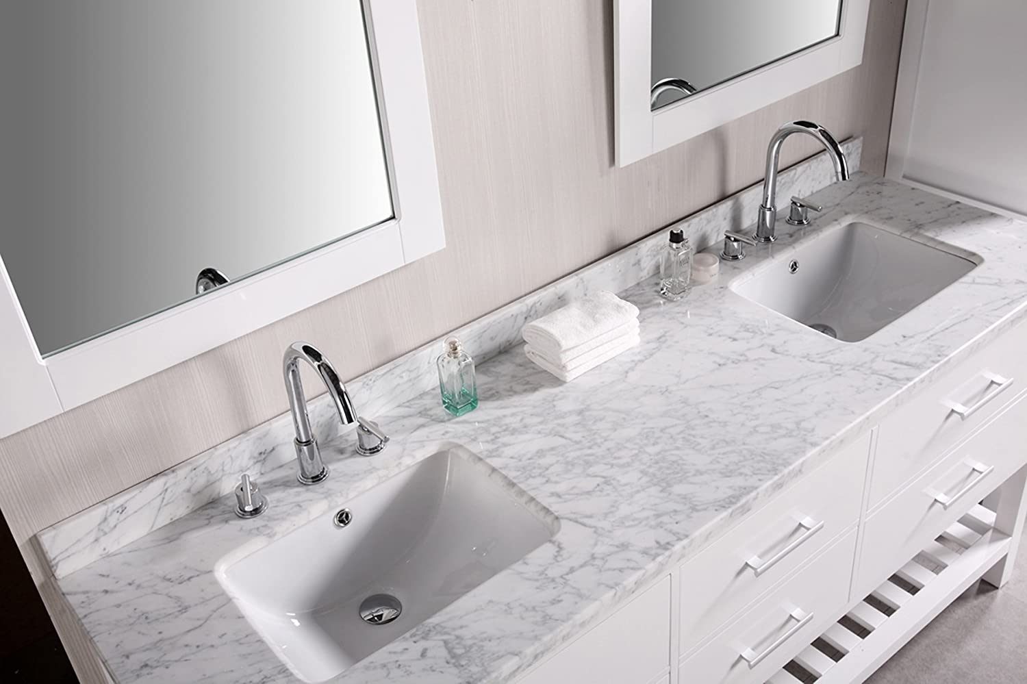 Design Element DEC077B W London 72 Inch Double Sink Vanity Set In Pearl  White   Vanity Mirrors   Amazon.com