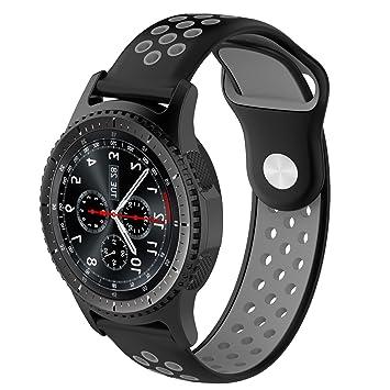Pinhen - Correa de reloj para Gear S3 Frontier Classic/Moto 360 2º 46 mm/Pebble Time/LG G Watch W100/W110/Urbane Amazfit Smartwatch (silicona), ...