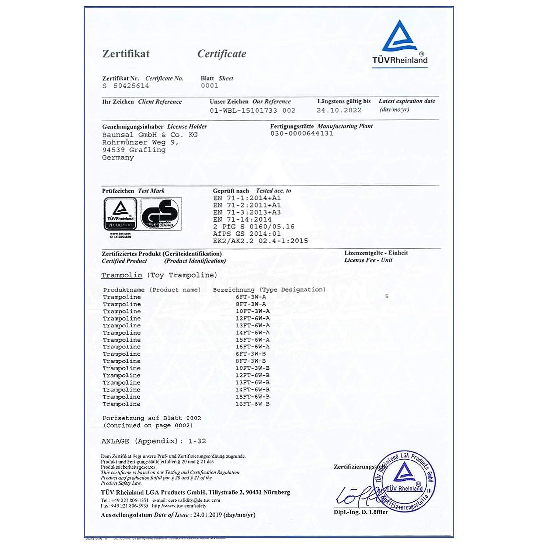 Baunsal GmbH /& Co.KG Gartentrampolin Trampolin 427 bis 430 cm in gr/ün mit Sicherheitsnetz und Einstiegsleiter