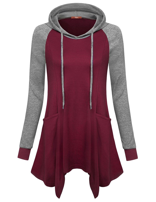 Gaharu Women Hoody Shirts, Raglan Long Sleeve Crewneck Pullover Tops Casual A Line Tunic Sweatshirts with Pockets Wine,M