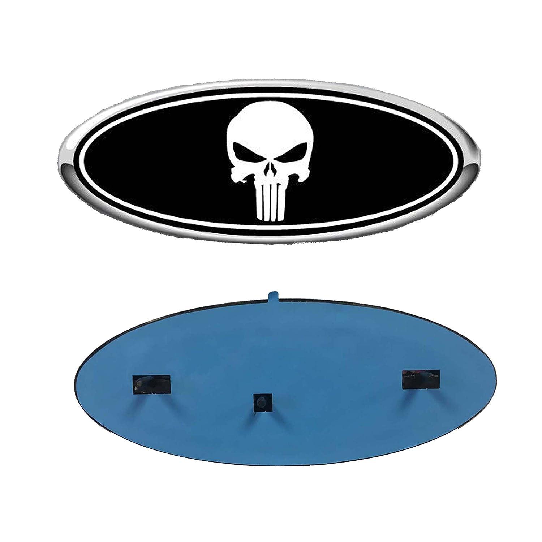 2005-2007 Ford F250/F350 Super Duty Black Punisher Oval 9' X 3.5' Front Grille Replacement Badge Emblem Medallion Name Plate Enterprises