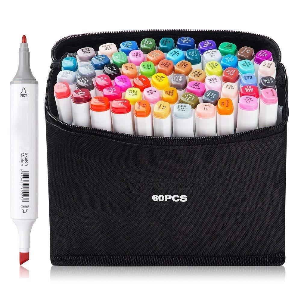 AVNTEN 60 Pennarelli indelebili, 60 Colori Unici Penne Colorate con Doppia Punta A Pennello, Ideale per Il Disegno di precisione, la Scrittura, la colorazione (Guscio Bianco)
