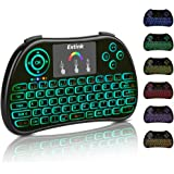 Mini Wireless Keyboard Backlit 2.4Ghz with Touchpad Mouse Combo Rechargeable Li ion Battery for PC, PAD, Google Android TV Box, Xbox 360, Smart TV, Raspberry Pi 3, HTPC, IPTV(2017 New Version, Colorful Backlit )