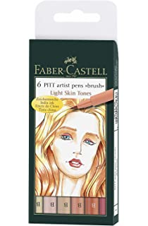 6pk Faber-Castell Pitt Pen Brush Wallet Premium Artist Basic Colours