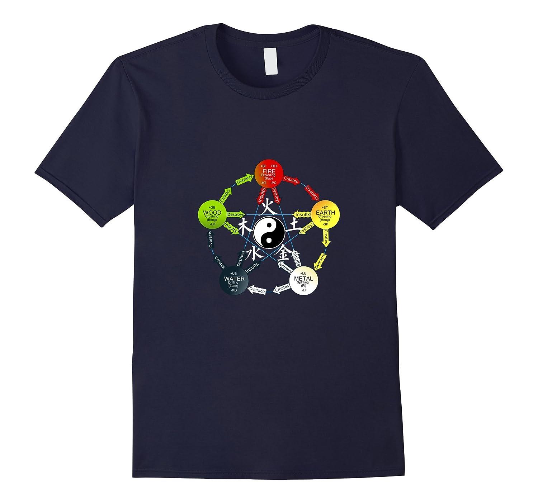 Tai Chi T-Shirt, Yin Yang Five Elements Chinese Taoism Tee-CL