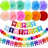 """APLANET 15pcs 10"""" Birthday Paper Pom Poms (12 Colors), Happy Birthday Party Bunting Banner, Rainbow Paper Garland for…"""