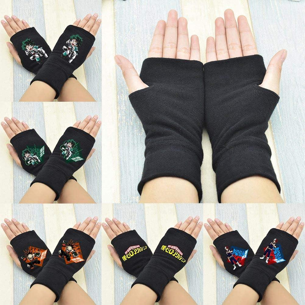 H01 St.Mandyu Anime My Hero Academia Cotton Gloves Cosplay Gloves Fingerless Gloves Half Finger Printed Gloves Winter Gift for Anime Fans