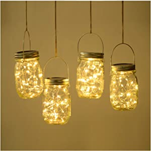 SODELIC Mason Jar Lights Solar with Lid (Incl. Jar) 4 Pack 30 LEDs Hanging Outdoor String Fairy Decor Table Lantern Light for Christmas, Patio, Garden, Yard, Lawn, Wedding, Warm White