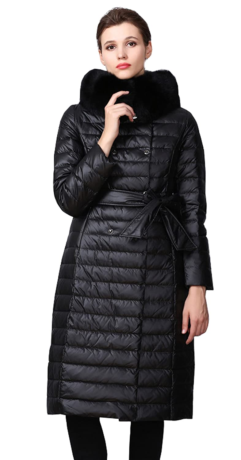 Black MedzRE Women's Lightweight Long Slim fit Quilted Down Parka Jacket